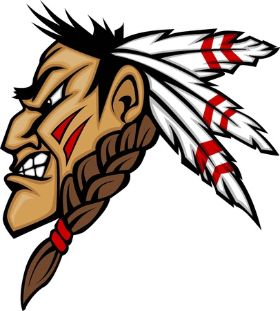native indian: Cartoon Native American Indian Brave Mascot with Feathers and Face Paint