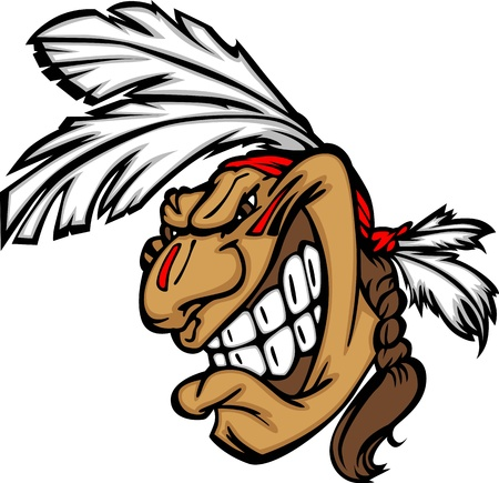 warriors: Cartoon Native American Indian Brave Mascot with Feathers and Face Paint