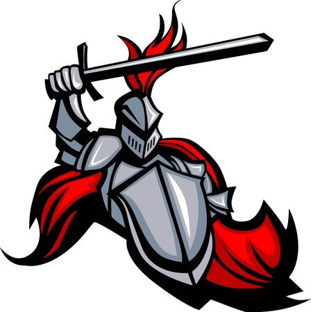 cavaliere medievale: Cavaliere medievale che indossano armature Mascotte regge uno scudo e una spada di puntamento