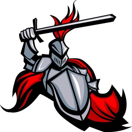 caballero medieval: El uso de Caballero Medieval Armor mascota con un escudo y una espada Señalando
