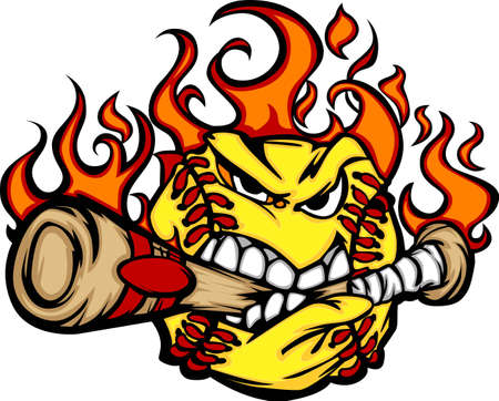 mean: Flaming Softball Ball Face Biting Bat Illustration