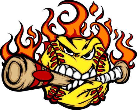 brandweer cartoon: Vlammende Softball Ball Gezicht Bijten Bat Illustratie