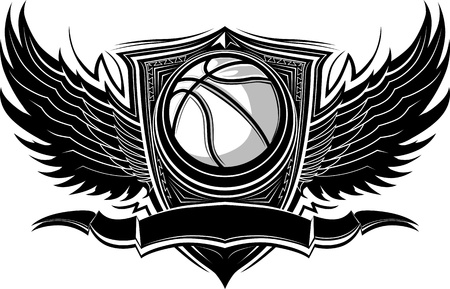 Basketball Ball with Ornate Wing Borders Stock Illustratie