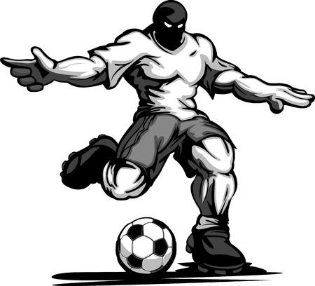 Cartoon sterk gespierde Voetballer Kicking Ball Vector Illustratie