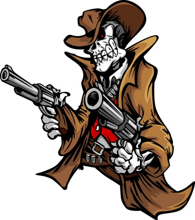 rustler: Graphic Image of a Skeleton Cowboy Skull and Body Shooting Pistols  Illustration