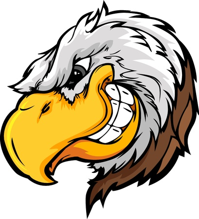 aquila reale: Cartoon immagine di un Mascot Bald Eagle Vettoriali