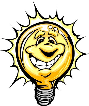 良いアイデアやエネルギーの節約を持っていて、笑みを浮かべて顔を持つ電球を漫画します。