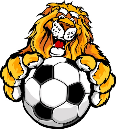 Graphic Mascot Image of a Friendly Lion with Paws on a Soccer Ball Vector