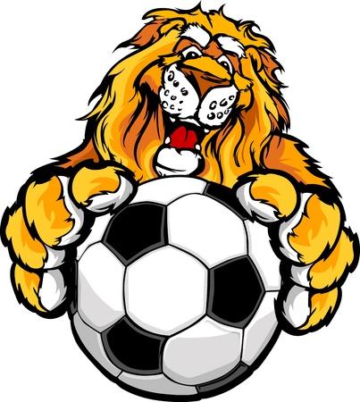 Mascot immagine grafica di un leone amichevole con le zampe su un pallone da calcio Archivio Fotografico - 14592022