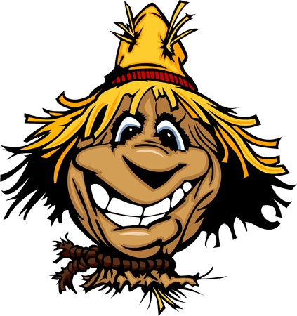 Cartoon Scarecrow with Smiling Face Wearing Straw Hat Vector