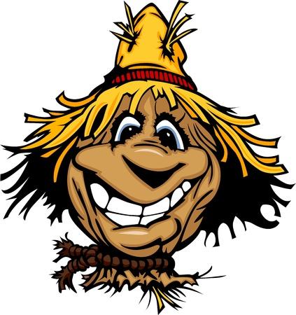 straw hat: Cartoon sorridente Spaventapasseri con cappello di paglia da portare Viso Vettoriali
