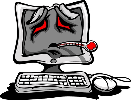 virus informatico: Caricatura del ordenador con la cara enferma y termómetro, como si tener un virus o un error de software
