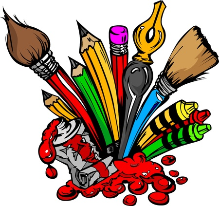 Art and Back to School Supplies- Paint Brushes, Pencils, Oil Paint, Pens, and Crayons Cartoon Image  Stock Illustratie