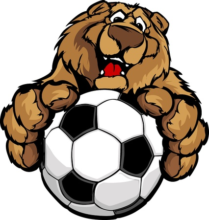 Graphic Mascot Image of a Friendly Bear with Paws on a Soccer Ball Vector