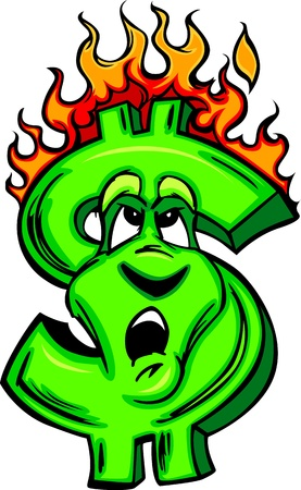 Cartoon Money Sign on fire with flames and Worried Face