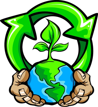 hands holding plant: Cartoon Image of a Hands Holding Planet Earth with a green plant and a Recycling Symbol for Earth Day