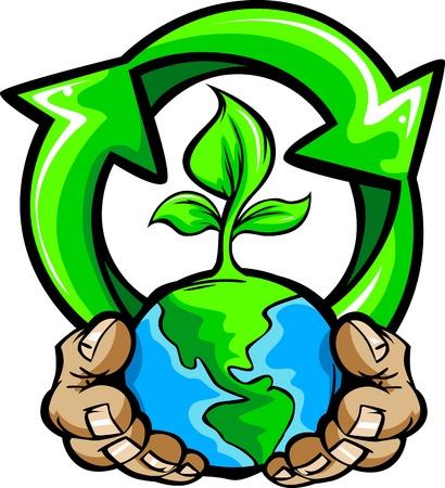 planeta tierra feliz: Cartoon Imagen de un Holding Hands Planeta Tierra con una planta verde y un símbolo de reciclaje para el Día de la Tierra