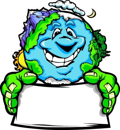 산맥과 대양과 행복한 미소 지구 만화 이미지는 지구의 날에 대한 기호를 들고