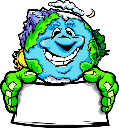 recycling: Cartoon Image of a Happy Smiling Planet Earth with Mountains and Oceans Holding a Sign for Earth Day