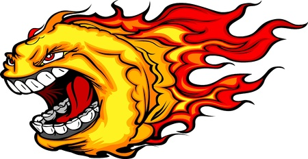 mean: Cartoon Image of a Screaming Burning Fire Ball with Flames