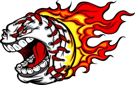 softball: Cartoon Image of a Flaming Baseball with Angry Face