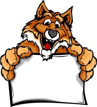 zorro: Jefe Fox sonriente Mascot Holding Sign Ilustración
