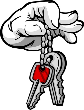 house keys: Cartoon Hand with Car or House Keys Illustration