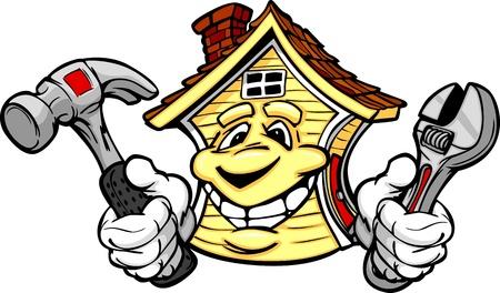 ハンマーとレンチを持って手で幸せな笑みを浮かべて家の漫画のイメージ  イラスト・ベクター素材