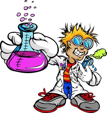 scienziati: Scienza Inventor Cartoon Studente Ragazzo con Camice da laboratorio scientifico e illustrazioni Attrezzature Esperimento Vettoriali