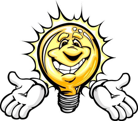 Cartoon lamp met lachend gezicht en handen, alsof het hebben van een goed idee of energiebesparing