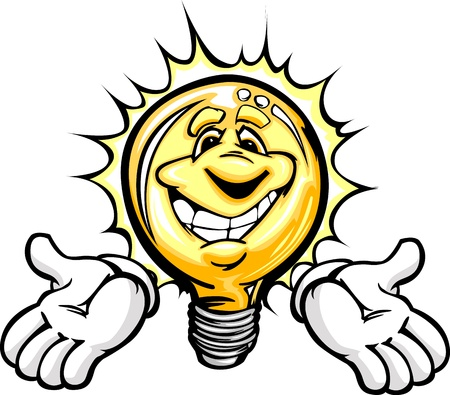 Cartoon Light Bulb with Smiling Face and Hands as though having a good idea or energy savings
