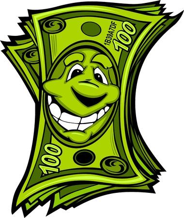 dolar: Cartoon Dinero billetes de cien dólares con la imagen sonriente de la historieta Cara