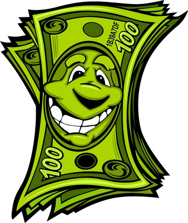 Cartoon Money Hundred Dollar Bills with Smiling Face Cartoon Image Vector