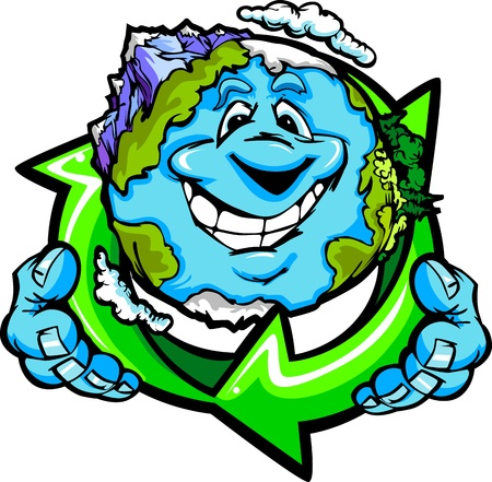 Cartoon Image of a Happy Smiling Planet Earth with Mountains and Oceans Holding a Recycling Symbol for Earth Day  Vector