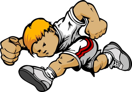 Running Youth Athlete Kids Cartoon - Boy Vector