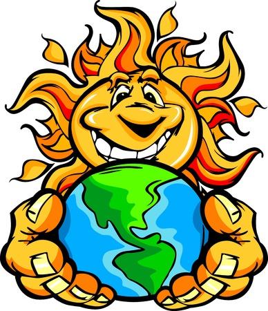 손에 지구를 들고 해피 스마일 여름 태양의 만화 그림