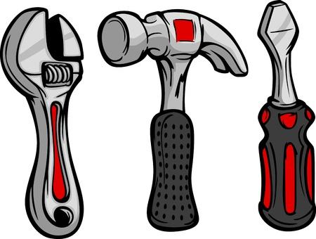 Cartoon Afbeelding van Home Repair Tools Hammer, Moersleutel en schroevendraaier