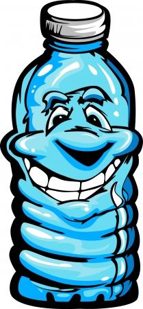 幸せな笑みを浮かべてプラスチック水ボトルの漫画のイメージ