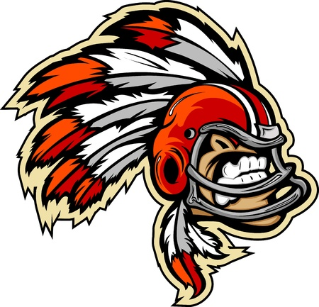 Graphic lmage of an Indian Chief Football Mascot with Feathers on Football Helmet Vector