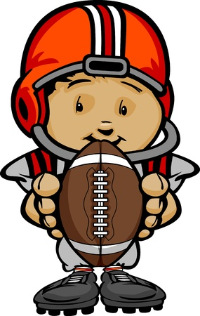 Cartoon Illustration of a Cute Kid Football Player with Hands holding Ball Vector