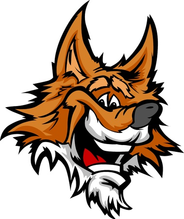 large dog: Fox Mascot with Smile and Happy Face Cartoon Illustration