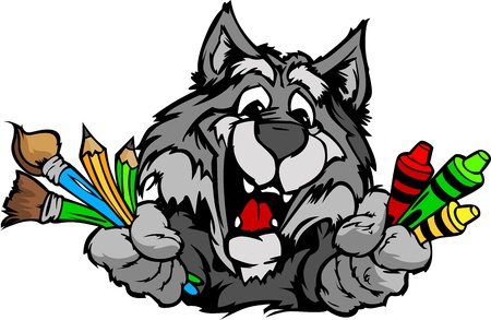 Kindergarten School Wolf with crayons and paint brushes, and art supplies in Paws Smiling Mascot Illustration Vector