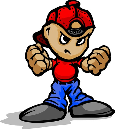 juniors: Cartoon Illustration of a Tough Kid with Hands in Fists Illustration