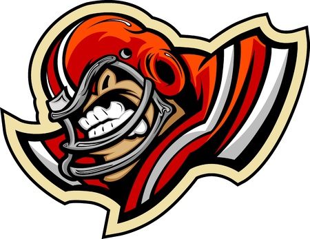 Graphic lmage of a Mean Tought Football Mascot with Football Helmet Vector