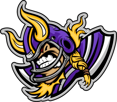Vikings: Graphic lmage of a Viking Football Mascot with Horns on Football Helmet Illustration