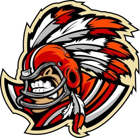 capo indiano: Grafica lmage Vector Sport di un ringhio americano mascotte Football capo indiano con copricapo piumato su Casco da football