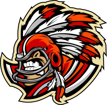 headress: Graphic Vector Sports lmage of a  Snarling American Football Indian Chief Mascot with Feathered Headress on Football Helmet Illustration