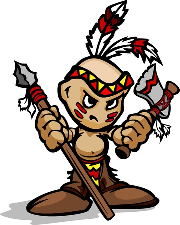 Cartoon Vector Illustration of a Tough Kid Indian Brave with Spear and Tomahawk in Hands