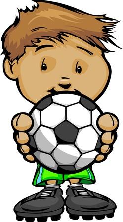 cartoon jongen: Cartoon Vector Illustratie van een Cute Kid Voetballer met Handen die Bal