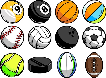 Vector Illustrations of Sport Balls - Baseball, Basketball, tennis, rugby and Billiards Vettoriali